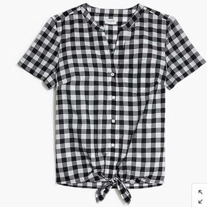 J.Crew Factory Gingham Tie-Front Shirt Small